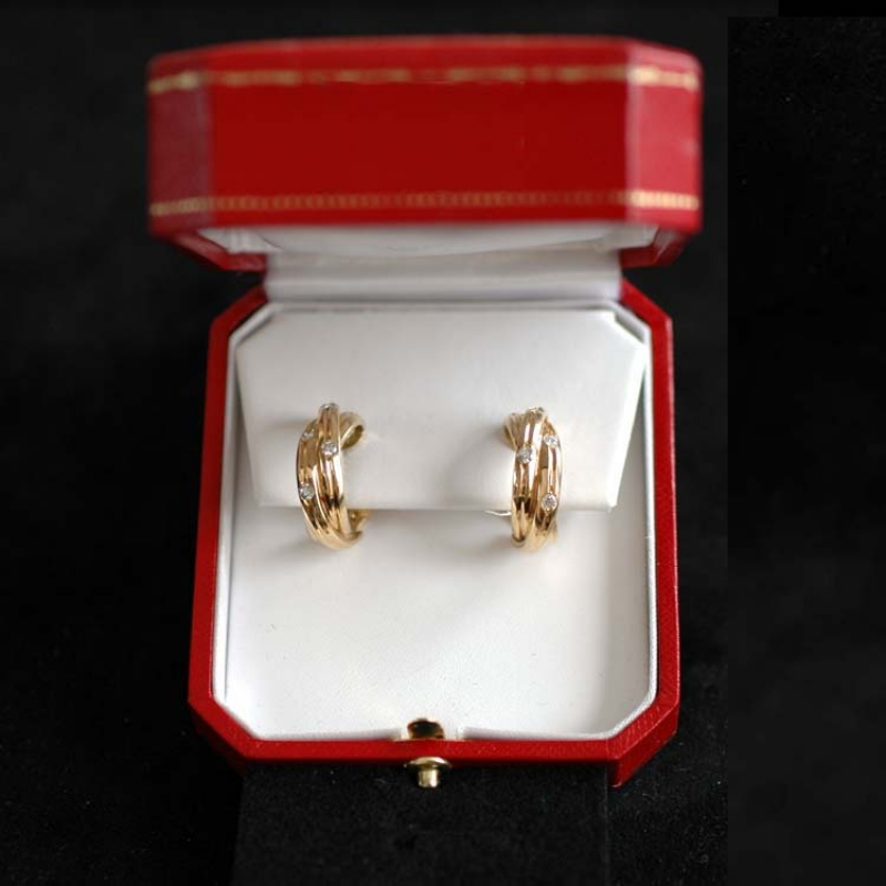 Cartier Trinity Earrings Original 18k Gold Diamond Rocks And Clocks
