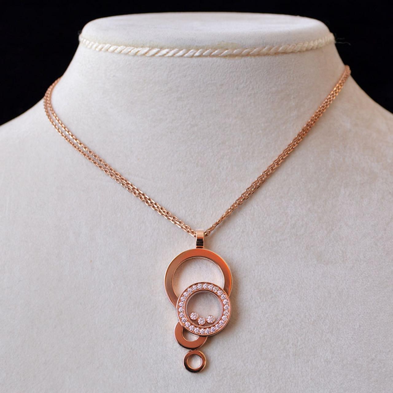 Chopard happy bubbles diamond pendant chopard 18k pink gold chopard chopard happy bubbles diamond pendant and necklace aloadofball Image collections