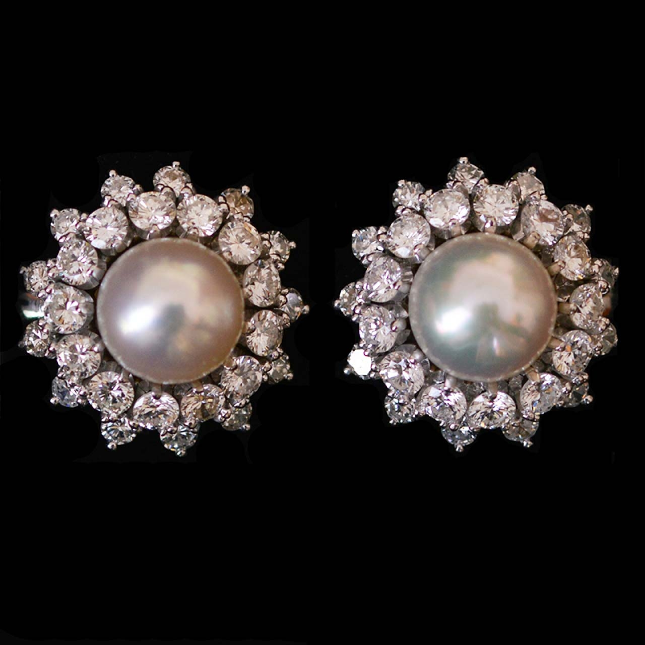 Platinum Diamond Pearl Earrings Made In A Set Rocks And Clocks
