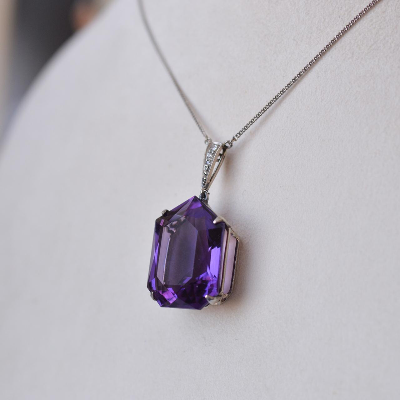 deco amethyst pendant deco necklace with pendant