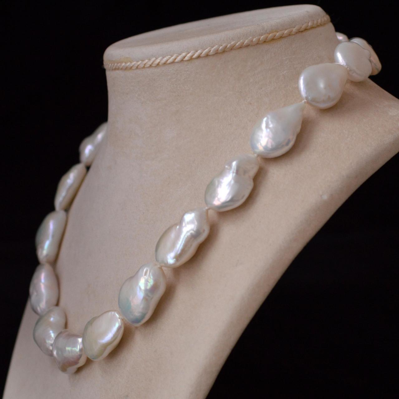 Keshi Pearl Necklace: White Keshi Pearl Necklace Rocks And Clocks White Keshi
