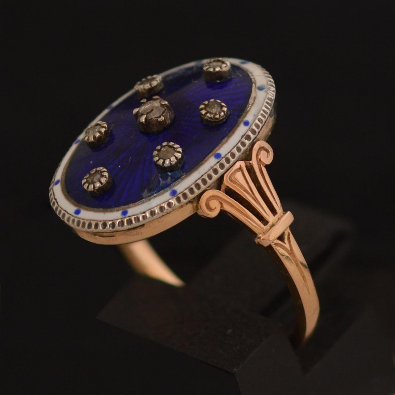 19th-century-18k-gold-blue-enamel-etoile-ring