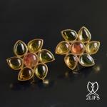 2lips-tulip-keukenhof-flower-earstuds-earrings-dutch-design-multi-colour-tourmaline-rubellite-tourmaline-david-aardewerk-18k-gol