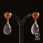 18k-gold-2lips-colours-blueish-pink-natural-undyed-agates-pink-rubellite-tourmalines-earrings-earpendants-design-david-aardewerk