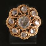 18-k-gold-antique-rose-cut-diamond-cluster-ring