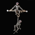 gold-silver-rose-cut-diamonds-rubies-turquoise-sapphire-pearls-monkey-brooch